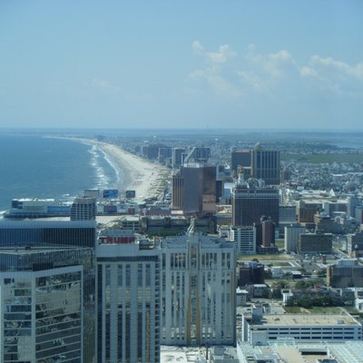 The skyline of Atlantic City, New Jersey looking southwest from the 47th floor of Revel Atlantic City