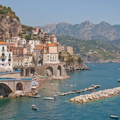 Atrani, On The Amalfi Coast Near Naples In Southern Italy. World Heritage Site Since 1997.
