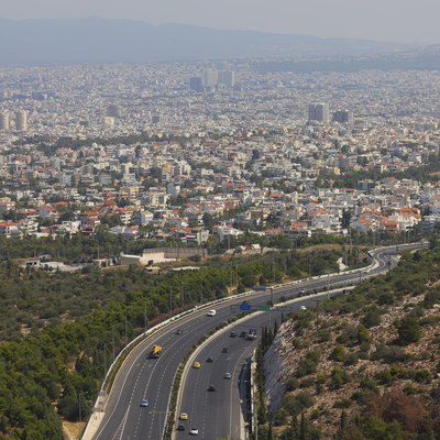 Hymettus tangent (Periferiaki Imittou) - view from Kalogeros Hill to the suburbs of Athens (Attica, Greece)