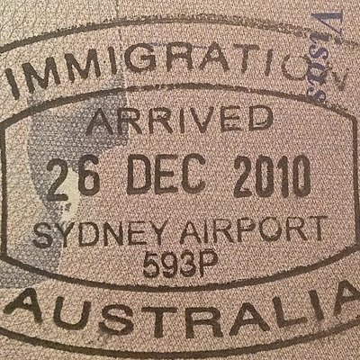 Australia Entry Stamp Issued At Sydney Shown In A US Passport