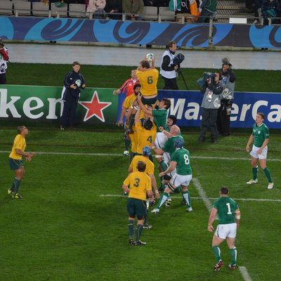 Match between Australia and Ireland during 2011 Rugby World Cup in New Zealand.