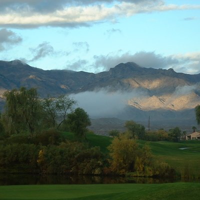 The golf course at the Avi Casino after a rainstorm