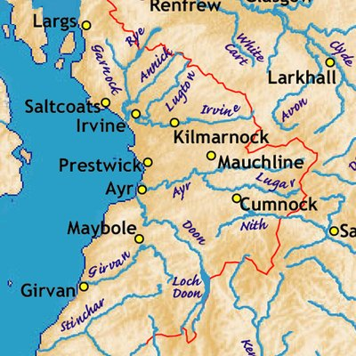 Ayrshire, with rivers and some towns