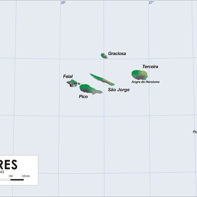 Map of Azores Islands (Portugal)