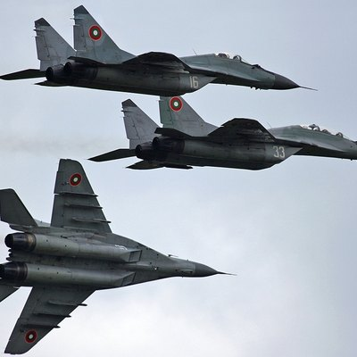 A squadron of three Bulgarian Air Force MiG-29s in flight, photo by Chavdar Garchev