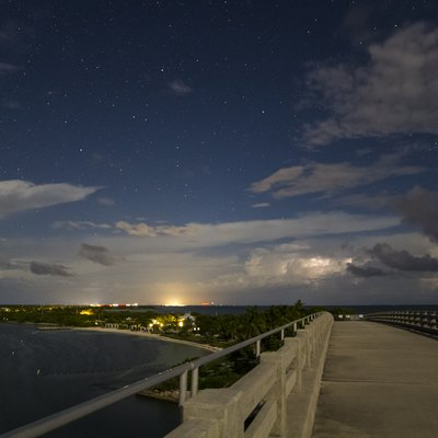 Bahia Honda Key and the park as seen from the old bridge at night