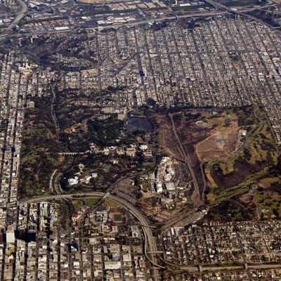 Aerial view of Balboa Park and Central San Diego