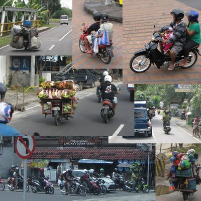 Collage of mopeds in Bali