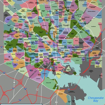 Map of Baltimore's neighborhoods, with official city-designated boundaries accurate to street level.