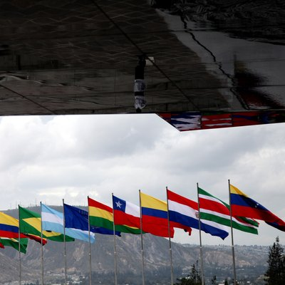 South American flags.