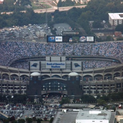 The Bank of America Stadium in Charlotte, N.C. as seen from the flight deck of a C-17 Globemaster III. Aircrew members from each flying squadron in the the 315th Airlift Wing, Charleston AFB, S.C., flew a fly-by in a for the Carolina Panthers' season opener on Sept. 10, 2006. (Photo by Capt. Wayne Capps, USAFR)