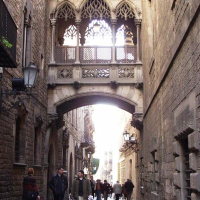 Neogothic-style bridge by architect Joan Rubió over Carrer del Bisbe (Bishop's Street) in Barcelona, linking the Palau de la Generalitat (Catalan Government Seat) with the Casa dels Canonges (residence of the President).