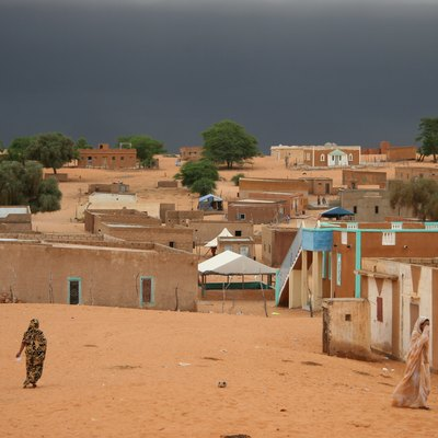 Bareina, A Small Desert Village In The South Of Mauritania, West Africa. A View Of The Sky Just Minutes Before Rain Started.