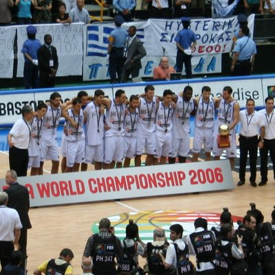 Basketball World Cup 2006 in Japan. After losing the final against Spain: The second placed team, Greece, who eliminated the US team
