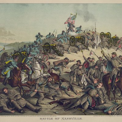 Battle of Nashville. Chromolithograph by Kurz & Allison.