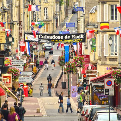Center of Bayeux town on week-end (Normandy, France)