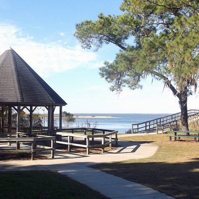 A portion of Bayfront Park in Daphne, Alabama USA overlooking Mobile Bay