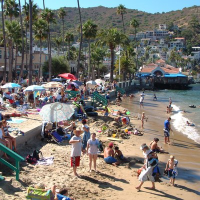 Crowded summertime beach in Avalon, Santa Catalina Island, California, United States