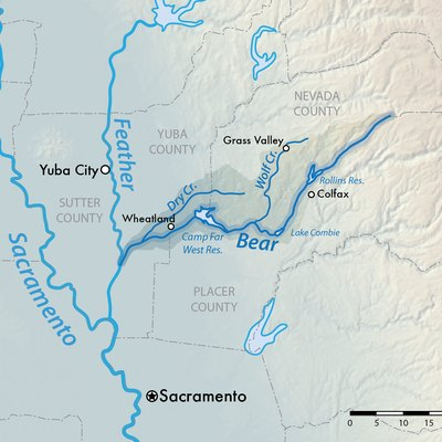 Map of the Bear River watershed in Northern California, USA. Shaded relief data from US Geological Survey.