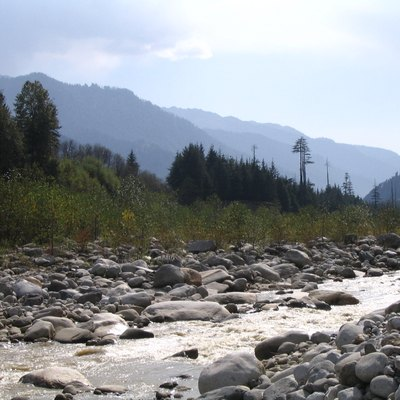 River Beas and mountains, as seen from Van Vihar, Manali, India