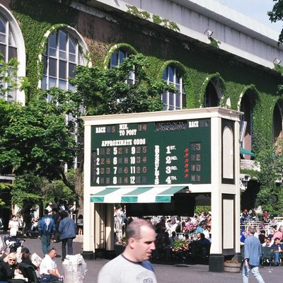 The elegant, ivy-framed arched windows of the Belmont Park grandstand lurk behind the tote board in the backyard paddock. The current grandstand, Thoroughbred racing's largest, was completed in 1968 after five years of renovations to the Belmont complex. Photo by Dave Mock
