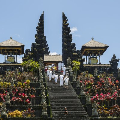 Besakih, Bali, Indonesia: The Mother Temple of Besakih, or Pura Besakih, in the village of Besakih on the slopes of Mount Agung in eastern Bali, Indonesia, is the most important, the largest and holiest temple of Hindu religion in Bali.
