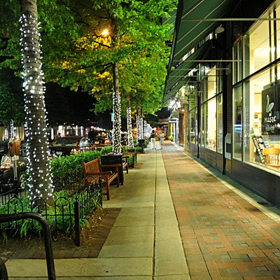 Bethesda Avenue at night