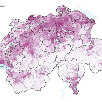 Population density in Switzerland (2016)