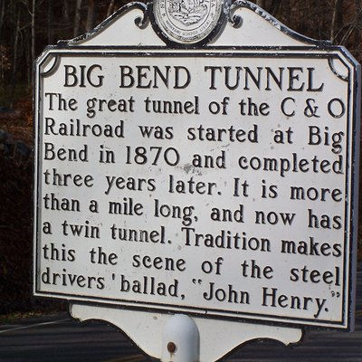 This sign explains about the tunnel that is far below the John Henry overlook. Travel along WV Routes 63, 12 and 3 between Ronceverte and Hinton is both historic and beautiful.