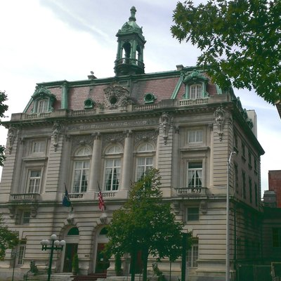 The former Binghamton City Hall, now the Grand Royale Hotel, in Binghamton, New York.