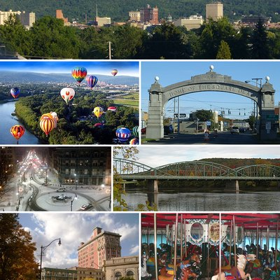 From top left: Binghamton skyline, balloons over Otsiningo Park during Spiedie Fest, the Endicott Johnson Square Deal Arch, downtown Binghamton in winter, the South Washington Street Bridge over the Susquehanna River, the Perry Block and the Press Building, and the Ross Park Zoo carousel.