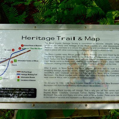 An interpretive sign along the Heritage Trail at the Birchtown, Nova Scotia museum.