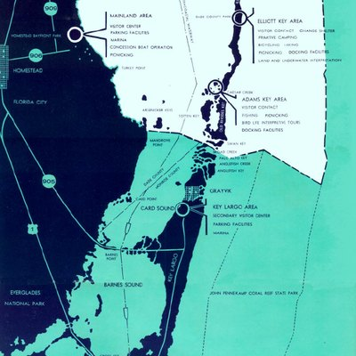Figure 13 of Biscayne National Monument: A Proposal by the National Park Service, showing the extent of the proposed national monument, now Biscayne National Park