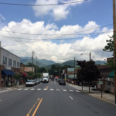 A view down State Street in Black Mountain, NC