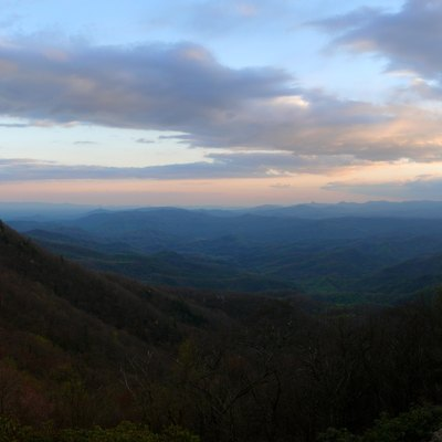 Looking southeast at sunset over the foothills of the Blue Ridge