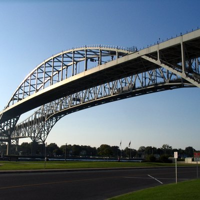 The Bluewater Bridge connecting Sarnia, Ontario and Port Huron, Michigan.