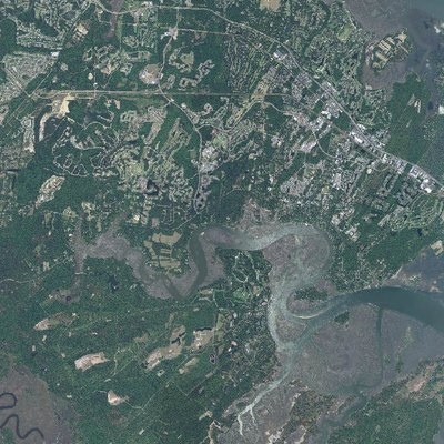 An aerial view of Bluffton, SC