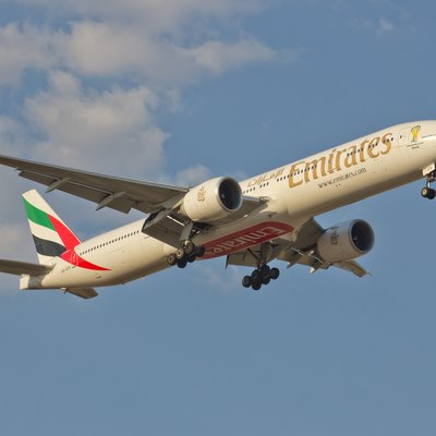 Emirates Boeing 777-300ER on approach to Madrid, Spain. Emirates is the world's largest operator of the Boeing 777 and the only airline to have operated every version of the aircraft.[15]