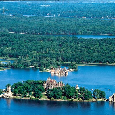 Aerial view of w:Boldt Castle and some of the w:Thousand Islands in the w:Saint Lawrence River.