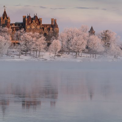 Boldt Castle On Heart Island, Alexandria Bay At Dawn. 20 Below F With Open Water.