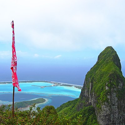 Bora Bora, North-East view from Mt. Pahia, French Polynesia