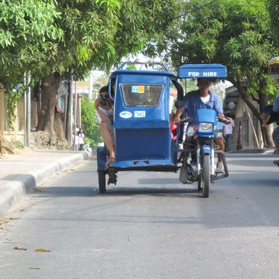 Tricycles on Boracay Island's main road. Tricyles are the primary mode of transportation on the island.