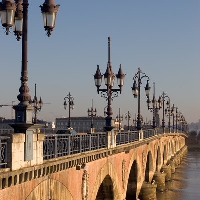 Bridge of Pierre over Garonne river in Bordeaux, France.