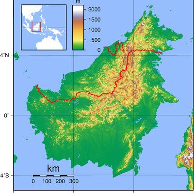 Relief (hypsometric) map of Borneo. Red lines represent national borders between Indonesia (south), Malaysia (north), and Brunei (top north). Created with GMT from publicly released GLOBE data[1]. For locator version, see Image:Borneo Locator Topography.png.