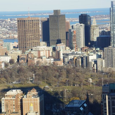 Boston Common and its surroundings on January 15, 2017 from the Prudential Center observatory skywalk
