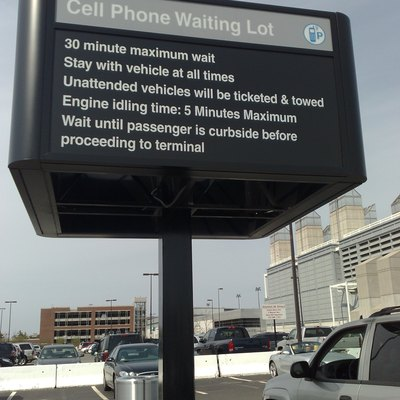 The 30-minute cell phone waiting area at Boston Logan International Airport in East Boston, MA, United States of America.