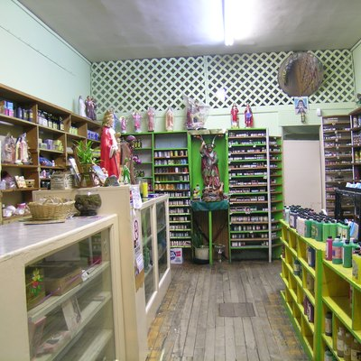 Interior of a botánica on Centre Street in Jamaica Plain, Massachusetts. April 2008 photo by John Stephen Dwyer