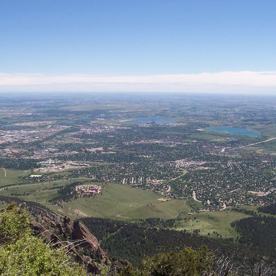 View of Boulder from Bear Peak. University of Colorado far left.
