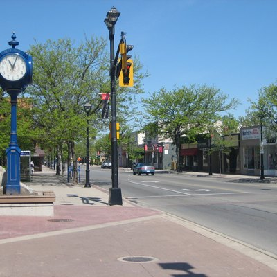 The photo is of Brant Street in downtown Burlington, Ontario, Canada. The photo was taken by Andrew Lynes on May 21, 2007. It was taken for use in the Burlington, Ontario article.