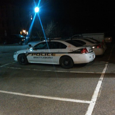 Brattleboro Police Chevrolet Impala at the Brattleboro Municipal Center, where the police station is currently housed
